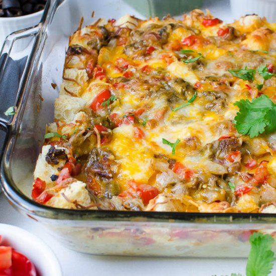 This Hatch Chile Breakfast Strata, loaded with mild chiles and two kinds of cheese is perfect for entertaining.