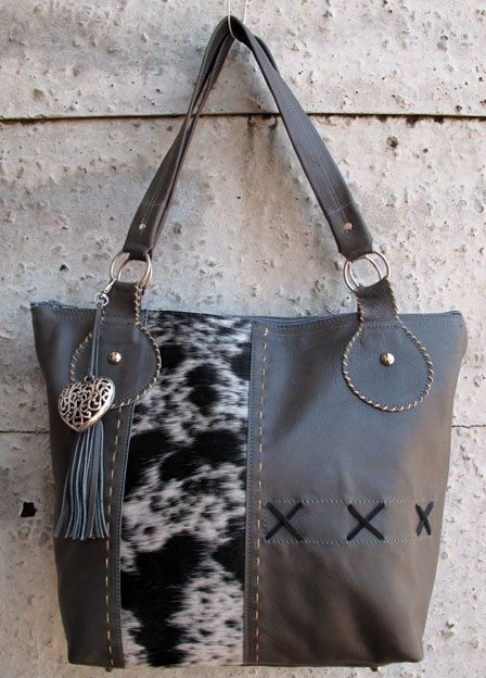 Leather bag with nguni skin