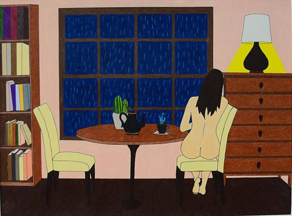 Colored drawing of a naked girl, sipping tea and staring out the window at the rain.  My idea of a perfect evening. :D Drawn on 30x40cm thick paper, using ink pen and colored pencils. Perfect gift for people who love rain. And tea. And nudity. (the frame is not included)