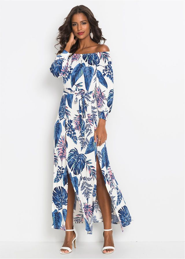 Šaty • biela modrá vzorovaná • bonprix obchod  b75bc6fd294