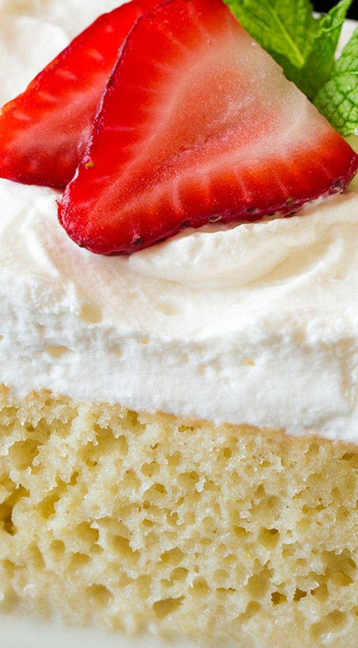 Tres Leches Cake ~ A perfectly rich, sweet, satisfying cake and it's sure to be a crowd pleaser!