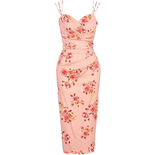 Stop Staring Arana Fitted Dress in Dusty Pink Floral ❤ liked on Polyvore featuring dresses, red dress, fitted floral print dress, floral fitted dress, flower pattern dress and tight dresses