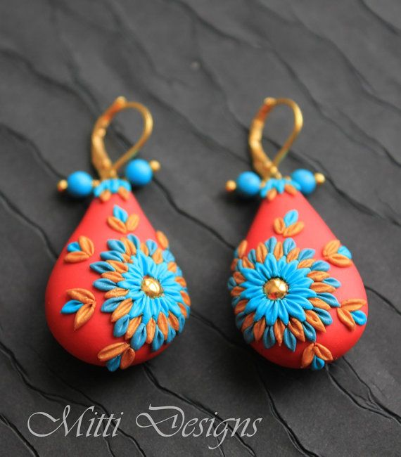 Stunning Turquoise flower on the spot light Red - Polymer clay embroidery / applique earrings by Mitti Designs