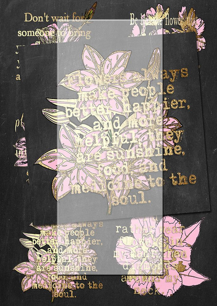 Handrawn png pink and gold flowers and quotes 1. plus gift by Lilymelba on Etsy