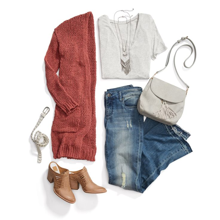 Keep calm & cardi on. Beat the breeze in floor-skimming denim & a knee-length cardigan for a West Coast boho vibe. #StylistTip
