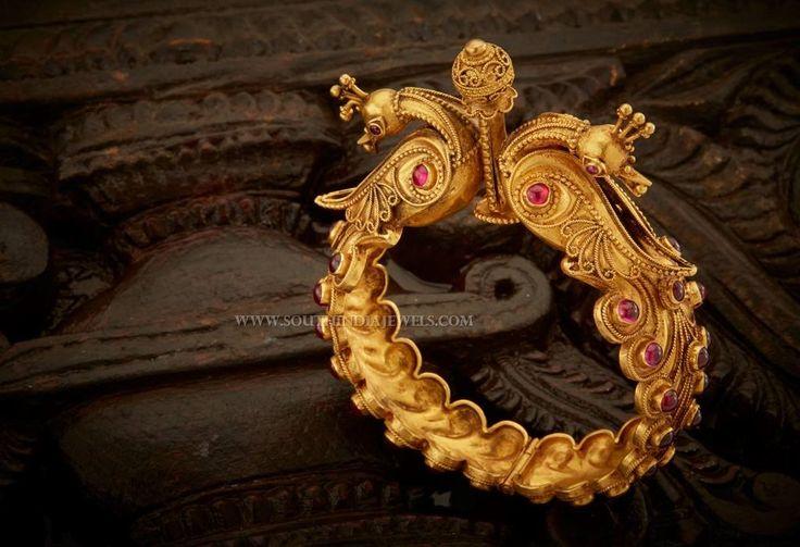 Gold Antique Kada Bangle With Price, Latest Gold Antique Kada Bangle Designs With Price Details.