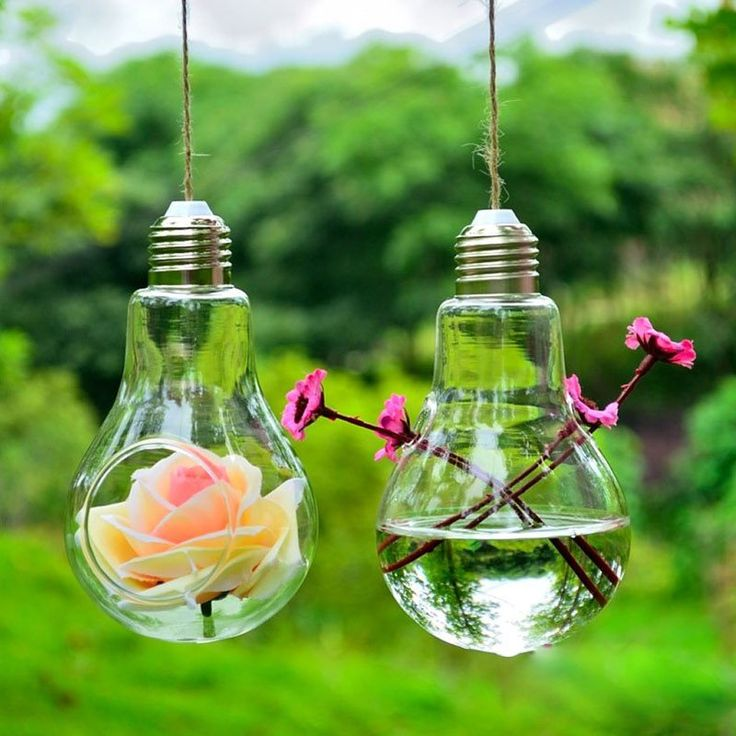 Glass Bulb Lamp Shape Flower Water Plant Hanging Vase Hydroponic Container Pot Office Wedding Decor