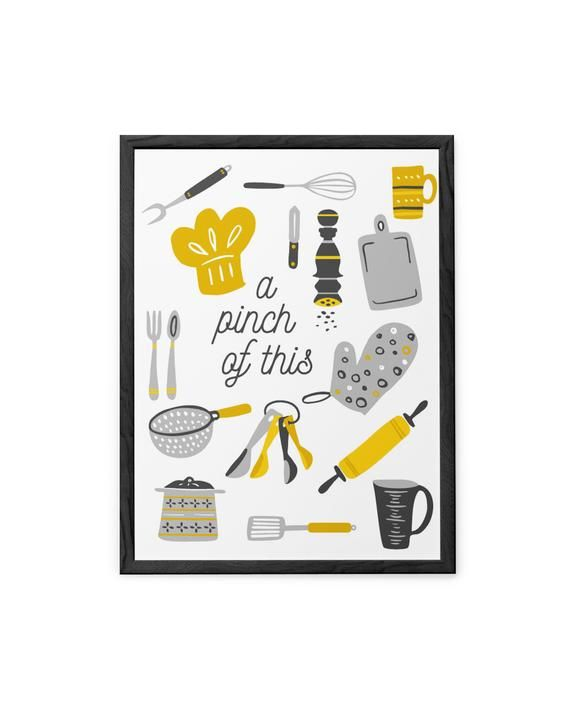 Yellow Gray Funny Kitchen Quote Print Yellow Gray Wall Art Funny Quote Poster For Dining Room D Kitchen Quotes Funny Kitchen Humor Dining Room Wall Decor