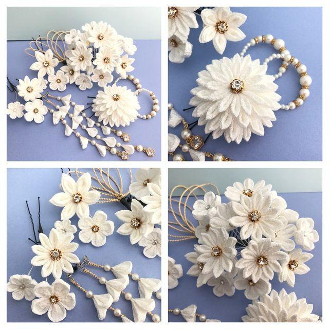 つまみ細工小花 ❁ ブーケ風 髪飾り 結婚式 *