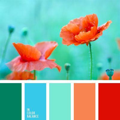 anaranjado y verde, celeste y coral, colores fríos y cálidos, combinación de…
