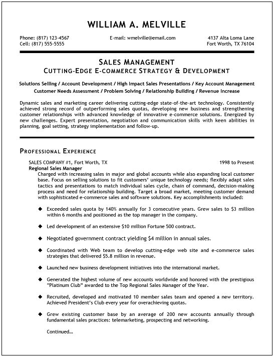 Sales Management Resume Examples - Examples of Resumes - sales resumes examples