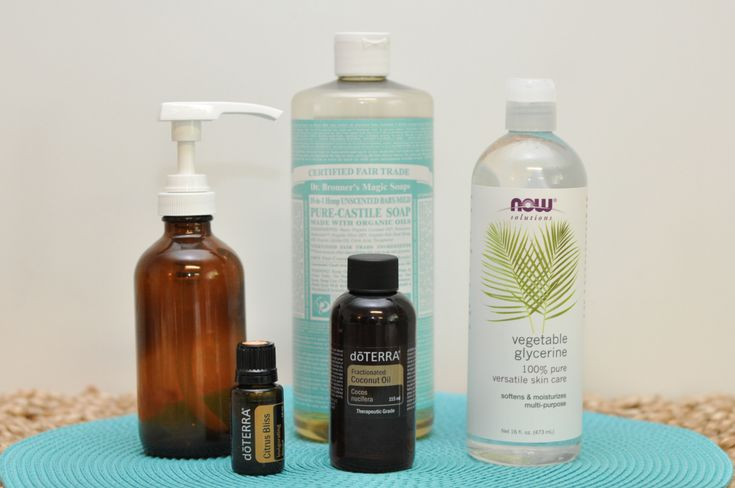 DIY Natural Body Wash - Castile soap, vegetable glycerine, coconut oil and essential oil - just the ingredients I was looking for!