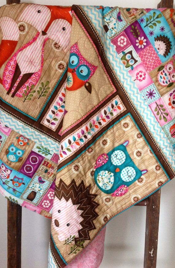 Baby or Toddler Quilt, Girl, Woodland Critters, Fox, Owl, Animals, Rustic, Baby Bedding, Crib Bedding, Nursery Quilt, Handmade Quilt, Quilt on Etsy, $134.00