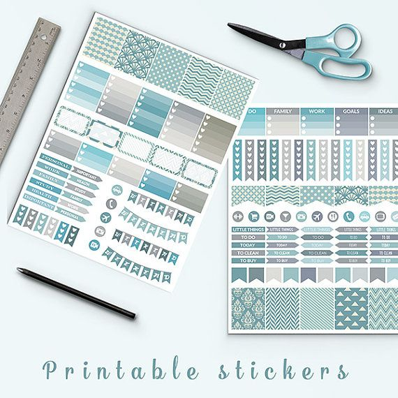 Vintage Blue Planner Stickers -  http://etsy.me/2cu2i73 Perfect for create handmade planners, stationery, greeting cards, craft items and much more.