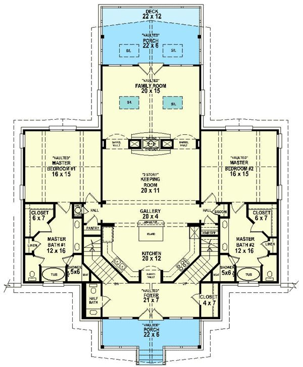 44 best dual master suites house plans images on pinterest for House plans with two master suites on main floor