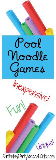 Over 20 of the BEST Pool Noodle Games!  No Pool required! All on one page - print it out and be ready for your next party or when kids are over for the summer!   Cheap, inexpensive and fun games that use pool noodles along with easy to find / cheap items such as beach balls, marbles and blow up swim rings!   Lots of variety and unique games for kids, tweens and teens ages 4, 5, 6, 7, 8, 9, 10, 11, 12, 13, 14, 15, 16, 17 years old!    #pool #noodle #summer #games #fun #unique #best