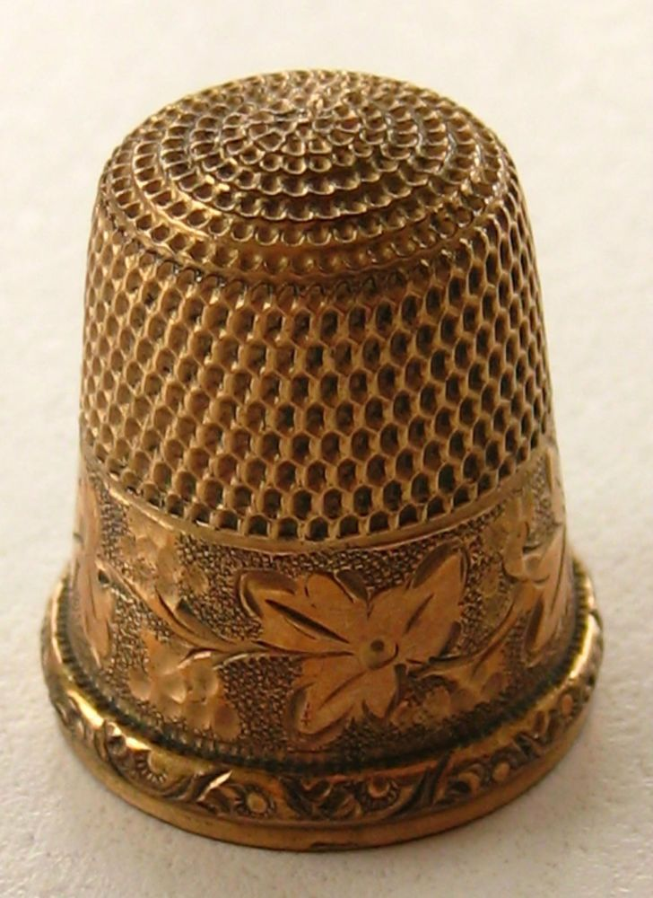 For Collectors: Simons Bros. Gold Filled Antique Thimble