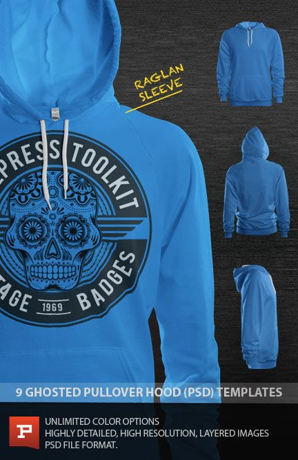 Pro Photoshop raglan pullover hoodie design template mockup. This polo template uses smart object displacement filters to make your artwork flow to the curves of the fabric. This realism has never been seen before in a photo real mockup template. https://www.prepresstoolkit.com/shop/ghosted-raglan-pullover-hoodie-template-psd/
