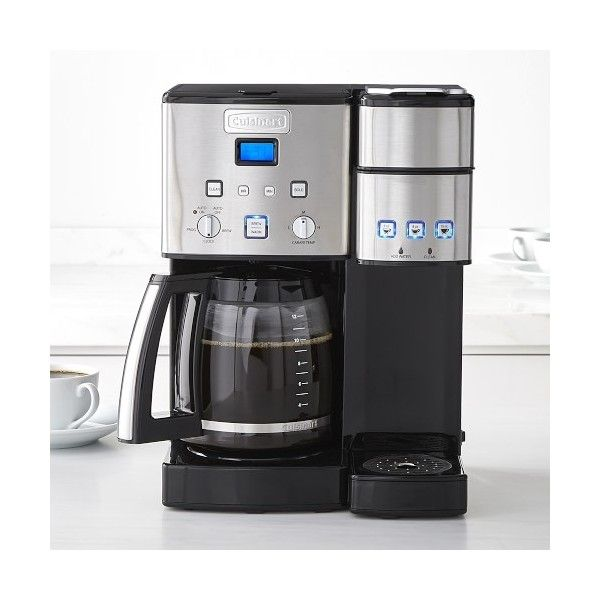 Williams-Sonoma Cuisinart 12-Cup & Single Serve Coffeemaker ($200) ❤ liked on Polyvore featuring home, kitchen & dining, small appliances, glass coffee carafe, single serve coffeemakers, single serve brewers, single serve coffee maker and single serving coffee machine