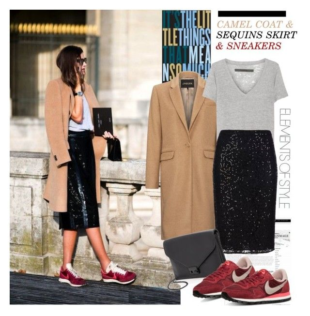 OUTFIT IDEAS: CAMEL COAT & SEQUIN SKIRT & SNEAKERS by hamaly on Polyvore featuring Enza Costa, Jaeger, W Collection, NIKE, Loeffler Randall, StreetStyle, coat, outfitideas and winterstyle