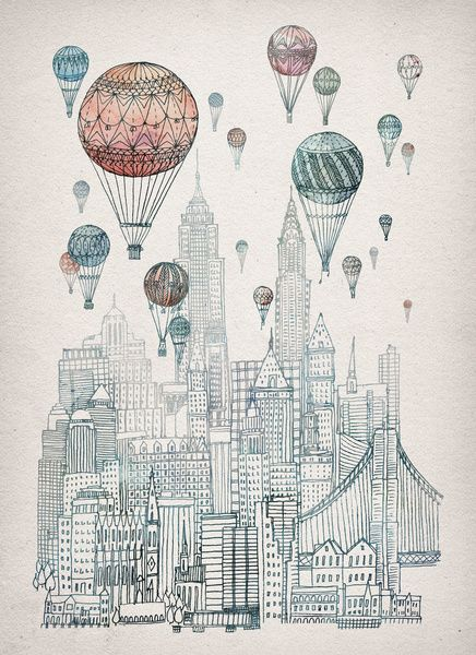 via Society6: Voyages Over New York Stretched Canvas by David Fleck