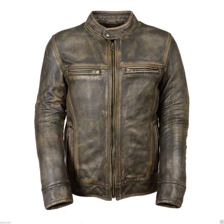 Distressed Wax Men's Biker Vintage Style Cafe Racer Motorcycle Leather Jacket #Leatherfort #Motorcycle