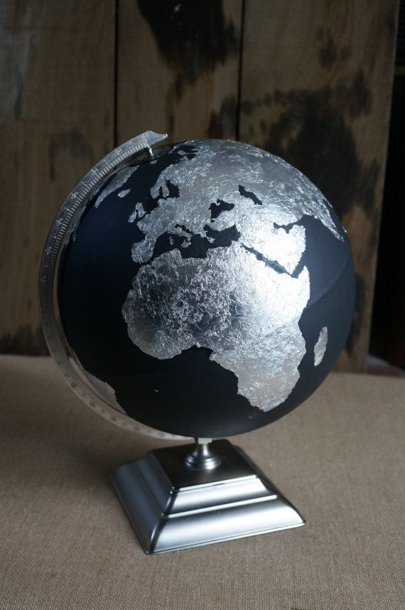 Hand Painted and Hand Silver Leafed Globe One of a kind. This is a striking piece. The dark chalk paint is offset by sparkling silver. A great