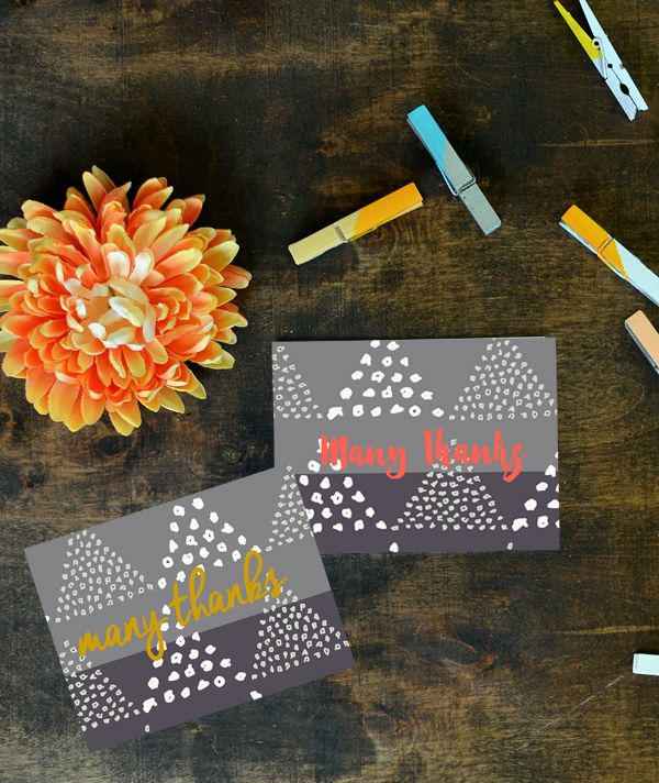 Dots and Triangles Thank You Cards; Free Printables
