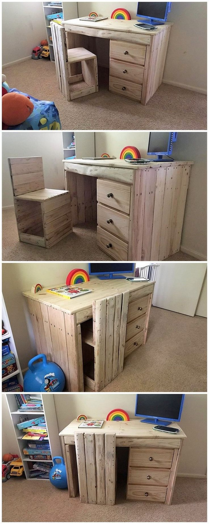 At the end we would once again come up with the unique wood pallet computer or study table idea of table for you. In this image, we have come about with the step by step discussion of the wood pallet computer or study table design that would make your task a lot easy in crafting.