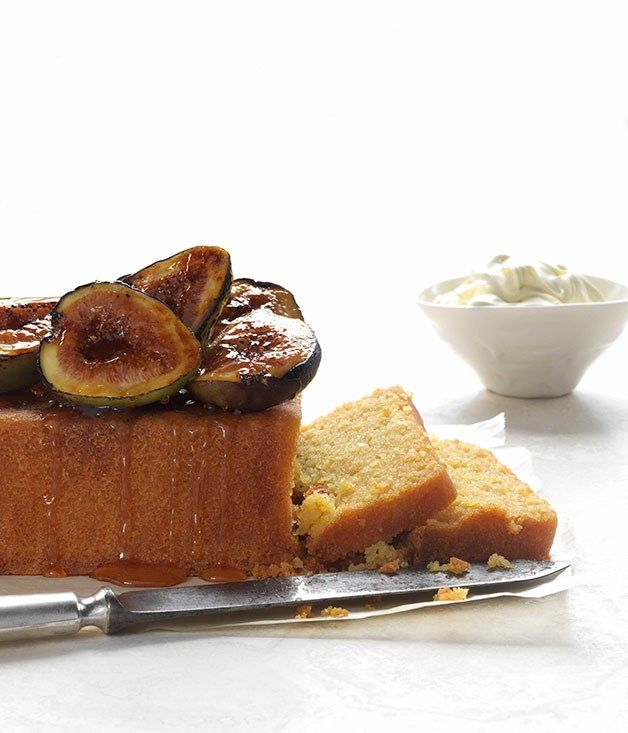 Polenta cake with burnt figs and honey :: Gourmet Traveller