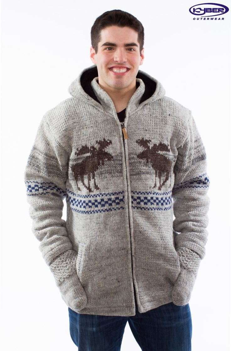 Collections :: 2015 Wool Sweaters (USA) :: Lt. Grey w/ Moose Design - Wool Sweater (Mens) - US -
