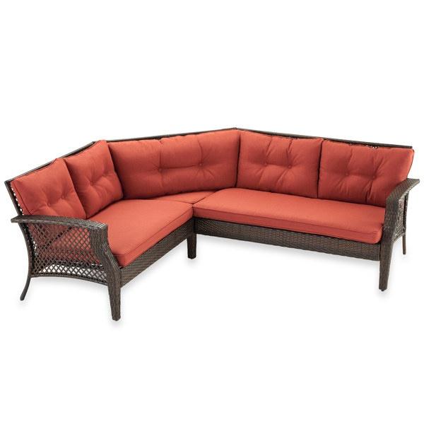 Wicker Deep Seating 3 Piece Sectional Sofa With Cinnamon Cushions   Bed Bath  U0026 Beyond