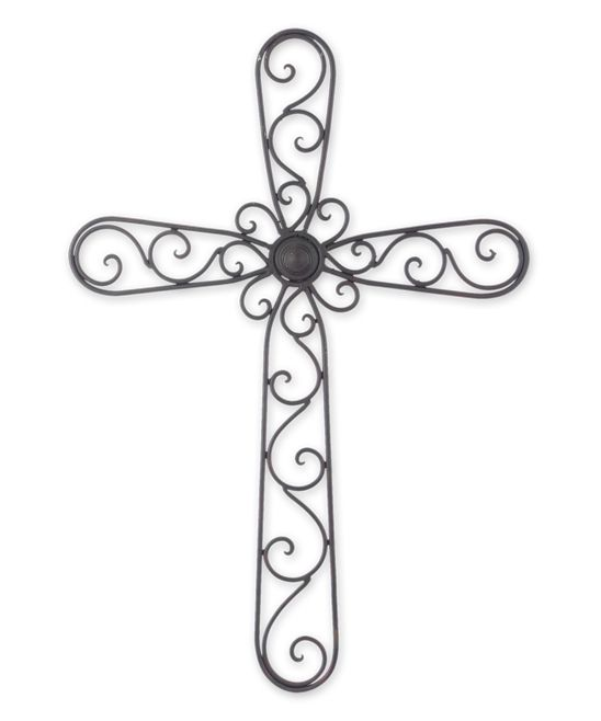Wrought Iron Scroll Cross Wall Art