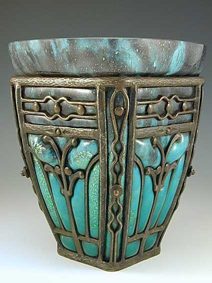 indigodreams:Daum & Majorelle Vase, Glass by Daum, ironwork by Louis Majorelle, France,