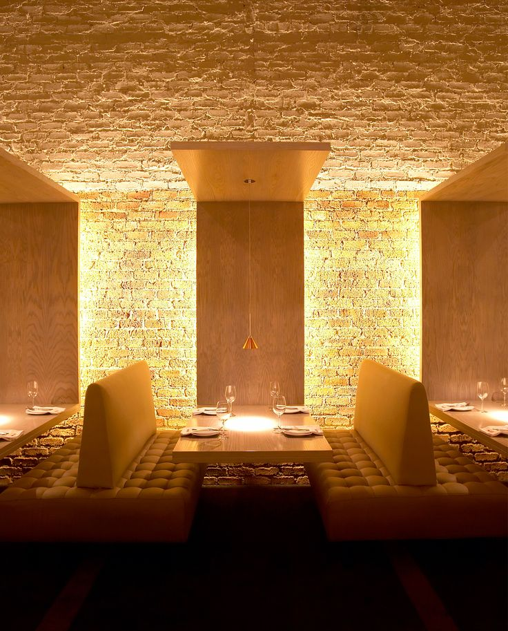 Anton De Kock, Brilliant Lighting Strategy On Textural Wall, Nice  Composition Of Banquet Seating