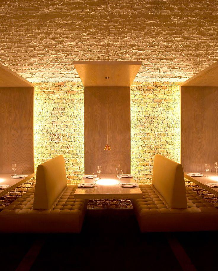 lighting for restaurant. i like the walls lit from behind wood panels lighting by anton de kock more for restaurant e