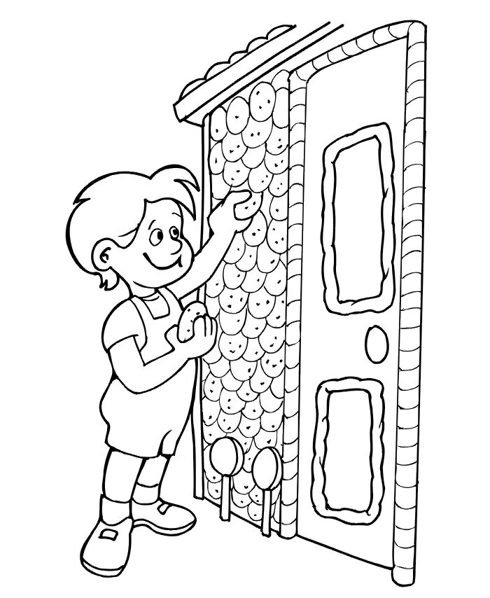 Hansel And Gretel Coloring Page Of At The Candy Cottage