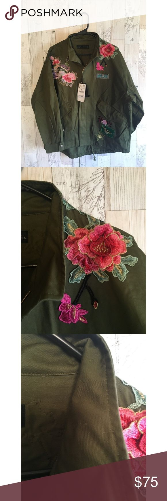 Green Embroidered Zara Jacket Patches Size Medium Green Embroidered Zara Jacket Patches Size Medium Small ding at collar  All my items come from a smoking household Zara Jackets & Coats