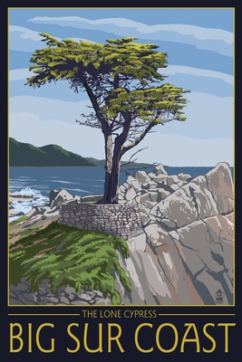 Lone cypress at Big Sur? Really? The famous lone cypress is in Pebble Beach, not Big Sur (clearly whoever did this travel poster was not familiar with the area!)