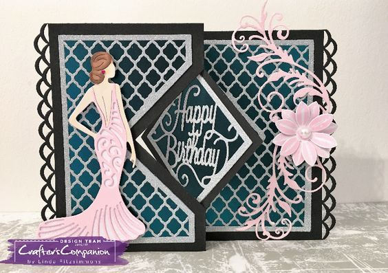 Kinetic Card made using Crafter's Companion Die'sire Diamond Swing Create a Card. Designed by Linda Fitzsimmons. #craftercompanion