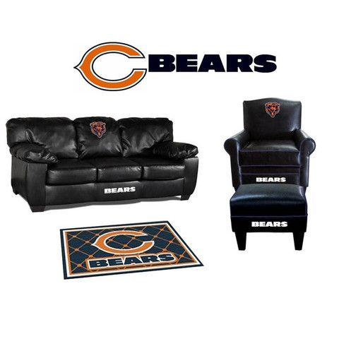 Beautiful Chicago Bears Leather Furniture Set