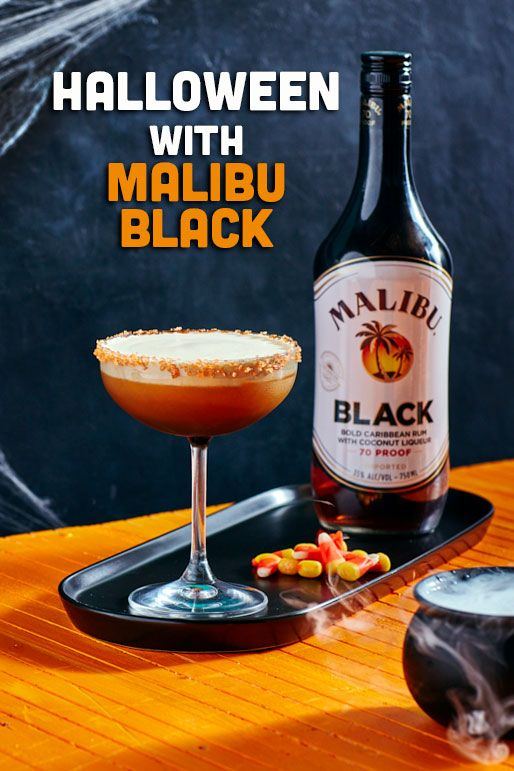 Celebrate Halloween with Malibu Black! 1.5 parts Malibu Black 1 part mango purée .5 part lime 2 drops vanilla extract Whipped cream Orange sugar crystals Shake everything except sugar and whipped cream. Strain into a martini glass, layer whipped cream on top. Enjoy!