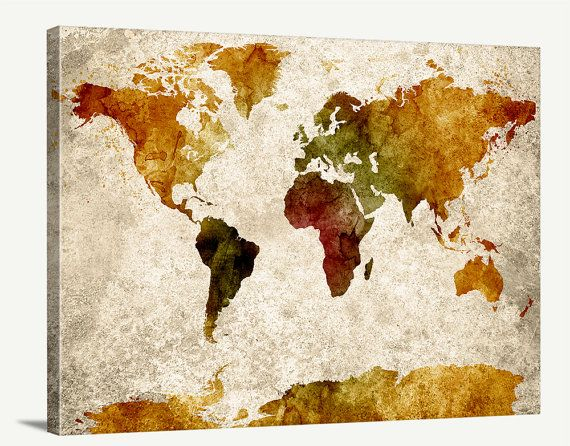 119 best watercolor wall art world map images on pinterest map art watercolor gold world map canvas print grunge sephia world map urban gumiabroncs Images