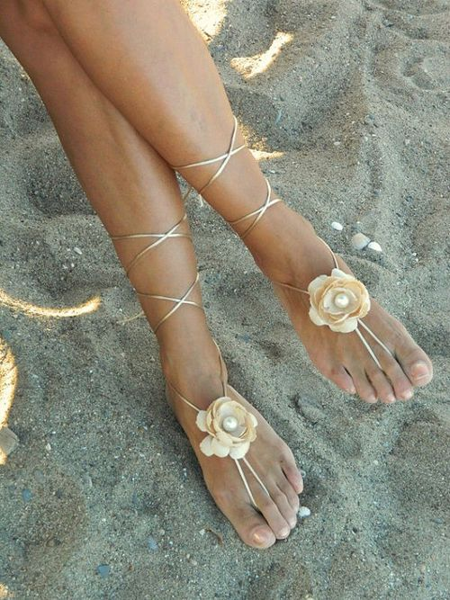 Champagne flower Beach wedding barefoot sandals bangle by fulyas on imgfave