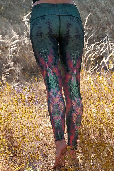 WOMENS LEGGINGS - Teeki Eagle Feather Green Hot Pant NEW!