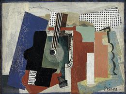 Pablo Picasso, 'Still Life with Door, Guitar and Bottles,' 1916, Statens Museum for Kunst