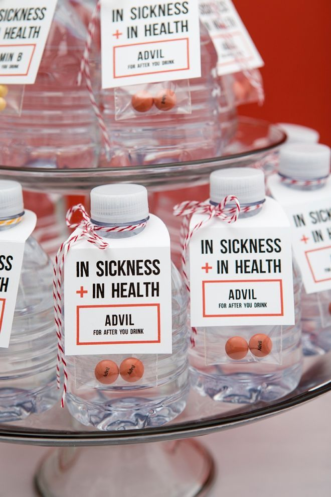 A fun yet useful wedding favor idea that leaves your guests feeling their best,  even after the reception.  See more DIY wedding favors here:  http://somethingturquoise.com/2017/04/10/diy-wedding-sickness-health-drinking-favors/