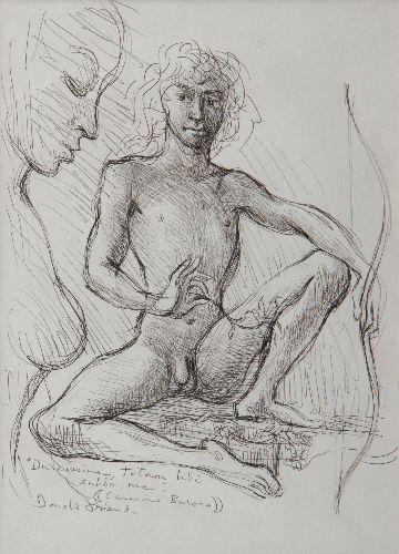 Donald Friend - Seated Boy; Carmina Burana (pen and Ink)