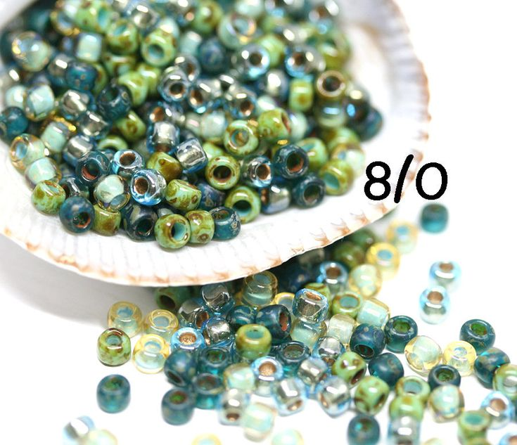Toho Blue Green seed beads Mix - Golden Ocean - MayaHoney Special Mix 8/0 size hybrid japanese rocaille beads - S1132 by MayaHoney on Etsy