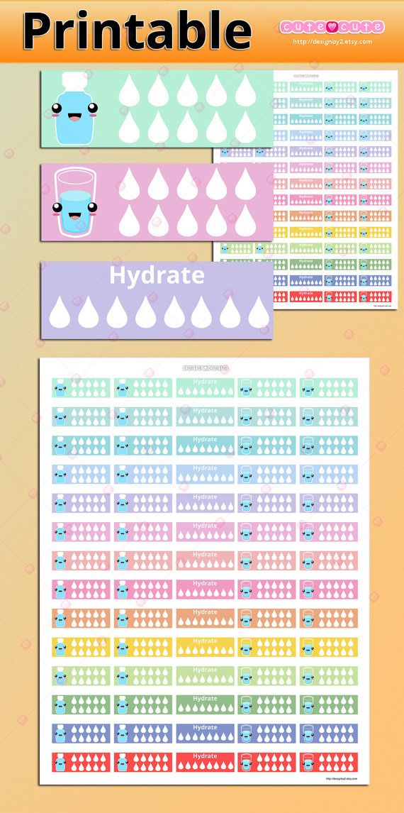 Kawaii Hydrate Tracker Printable Stickers Planner by designby2